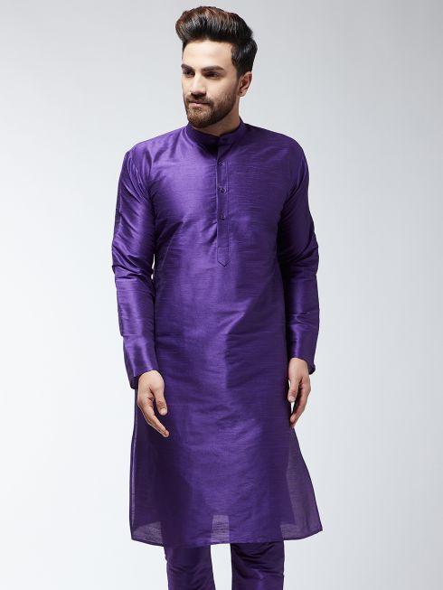 Sojanya (Since 1958), Men's Silk Blend Purple ONLY Long Kurta