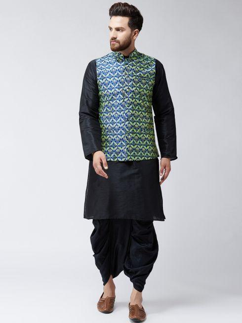 Sojanya (Since 1958), Dupion Silk Black Kurta Dhoti and Blue Printed Nehru jacket set