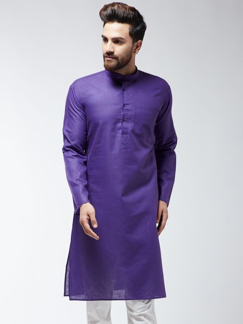 Sojanya (Since 1958), Men's Cotton Blend Purple ONLY Long Kurta