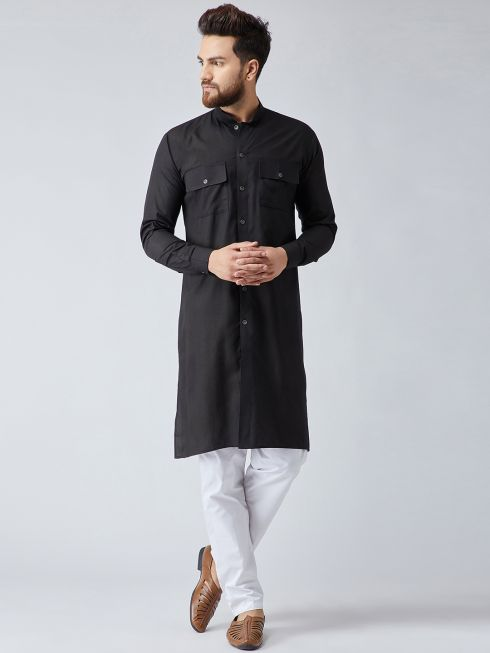Sojanya (Since 1958), Men's Cotton Black ONLY Long Kurta