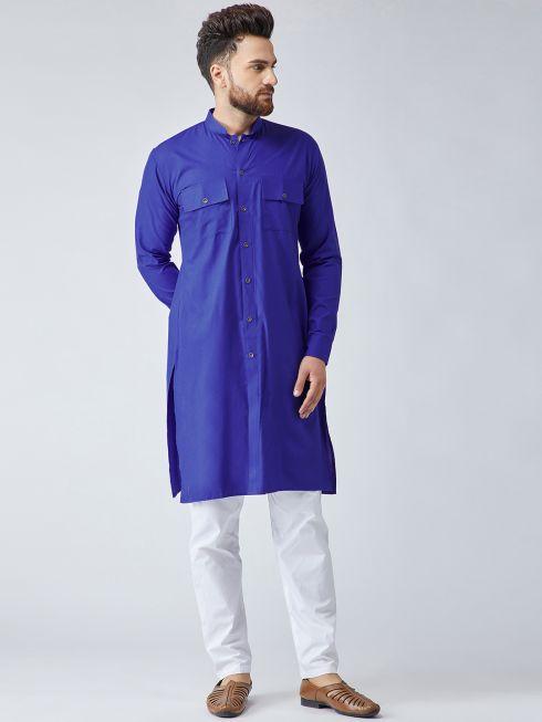 Sojanya (Since 1958), Men's Cotton Royal Blue ONLY Long Kurta