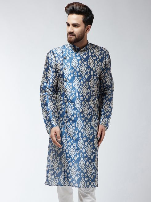 Sojanya (Since 1958), Men's Silk Blend Blue Printed ONLY Long Kurta