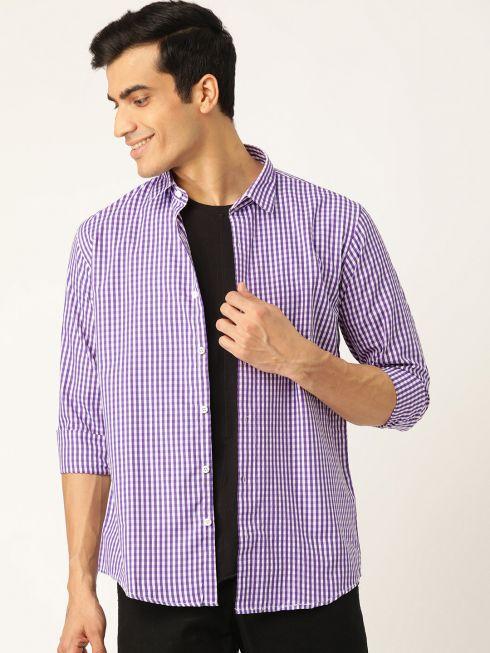 Sojanya (Since 1958), Men's Cotton Purple & White Checked Casual Shirt