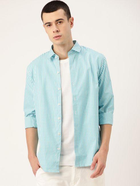Sojanya (Since 1958), Men's Cotton Sea Green & White Checked Casual Shirt