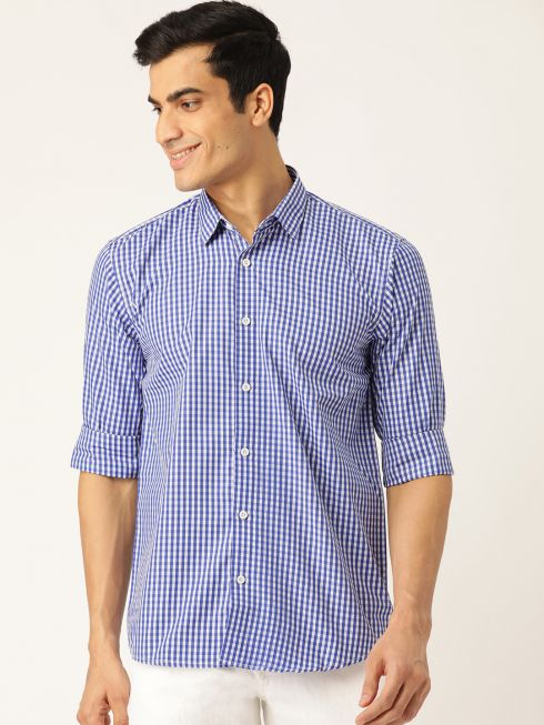 Sojanya (Since 1958), Men's Cotton Royal Blue & White Checked Casual Shirt