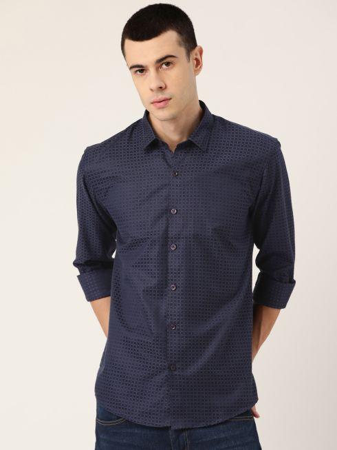 Sojanya (Since 1958), Men's Cotton Navy Blue Checked Casual Shirt