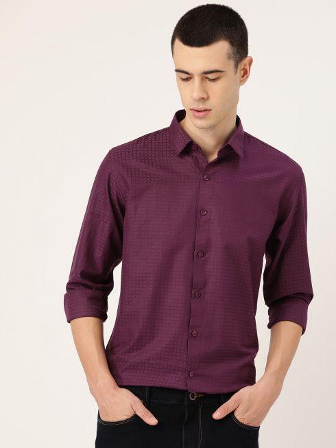 Sojanya (Since 1958), Men's Cotton Wine Checked Casual Shirt