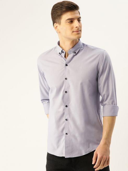 Sojanya (Since 1958), Men's Cotton Grey Casual Shirt