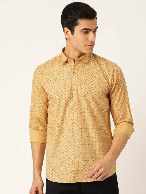 Sojanya (Since 1958), Mens Cotton Mustard & Navy Blue Printed Casual Shirt