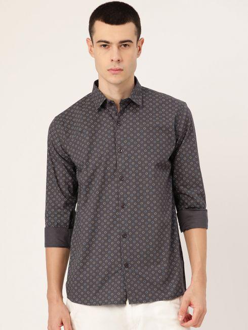 Sojanya (Since 1958), Mens Cotton Charcoal Grey Printed Casual Shirt