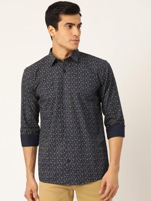 Sojanya (Since 1958), Mens Cotton Navy Blue & Gold Printed Casual Shirt