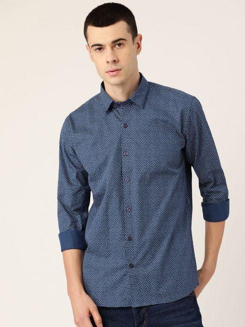 Sojanya (Since 1958), Mens Cotton Teal Blue & Grey Printed Casual Shirt