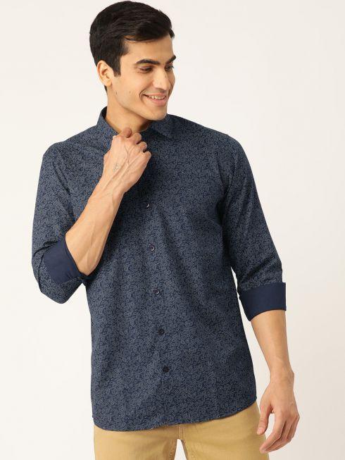 Sojanya (Since 1958), Mens Cotton Navy Blue & Silver Printed Casual Shirt