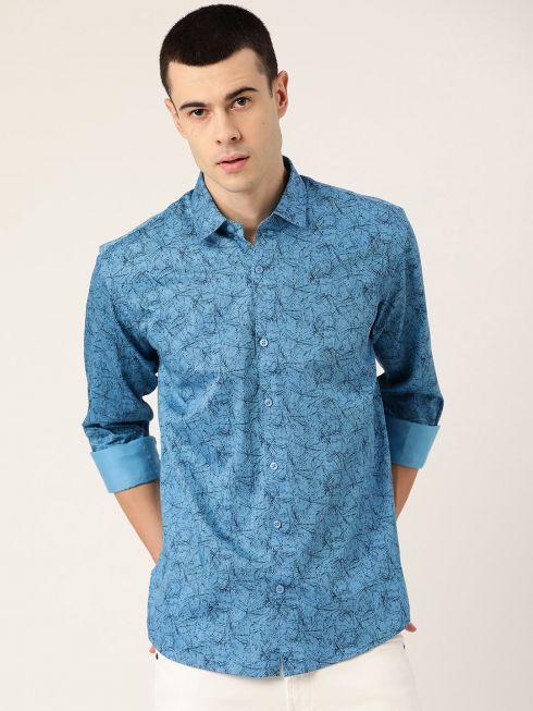 Sojanya (Since 1958), Mens Cotton Cobalt Blue & Black Printed Casual Shirt