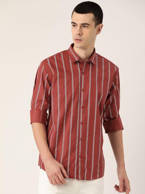Sojanya (Since 1958), Mens Cotton Dark Rust & White Printed Casual Shirt