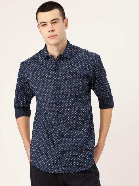 Sojanya (Since 1958), Mens Cotton Navy Blue & Multi Printed Casual Shirt
