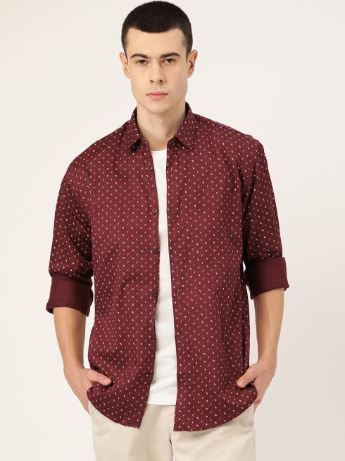 Sojanya (Since 1958), Mens Cotton Maroon & Multi Printed Casual Shirt