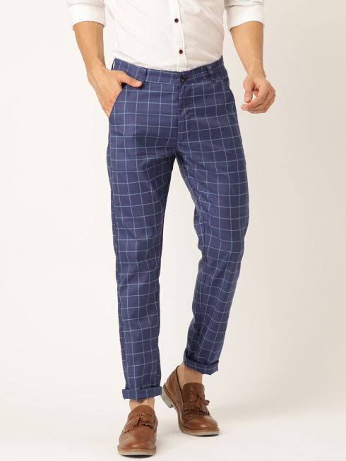 Sojanya (Since 1958) Men's Cotton Blend Royal Blue & Blue Checked Casual Trousers