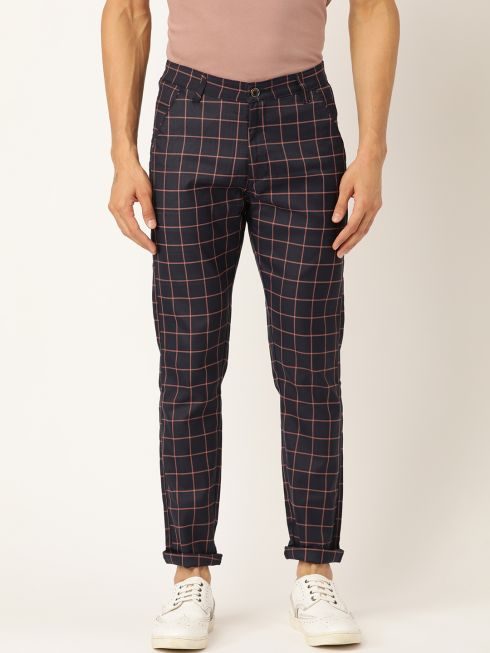 Sojanya (Since 1958) Men's Cotton Blend Navy Blue & Red Checked Casual Trousers