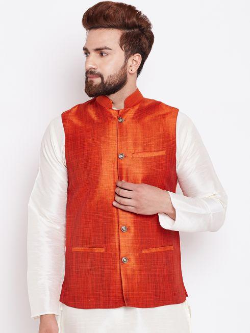 Sojanya (Since 1958) Men's Silk Blend Peach Nehrujacket
