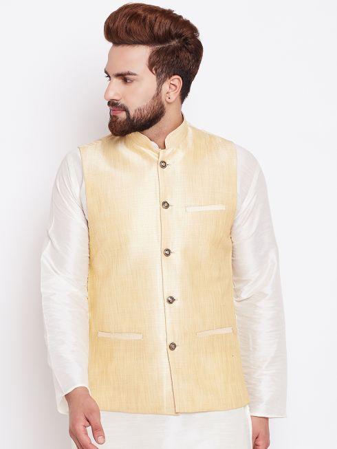 Sojanya (Since 1958) Light Gold Nehru Jacket