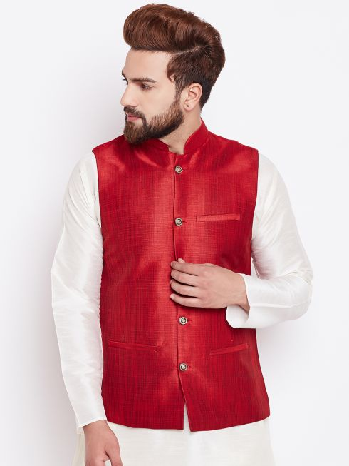 Sojanya (Since 1958) Men's Silk Blend Maroon Nehrujacket
