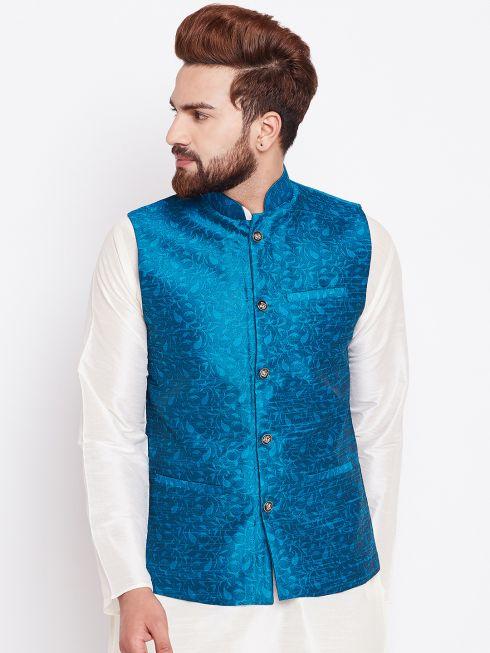 Sojanya (Since 1958) Sea Green Designer Nehru Jacket