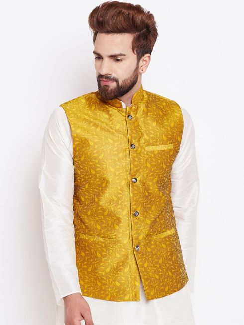 Sojanya (Since 1958) Men's Silk Blend Mustard Nehrujacket