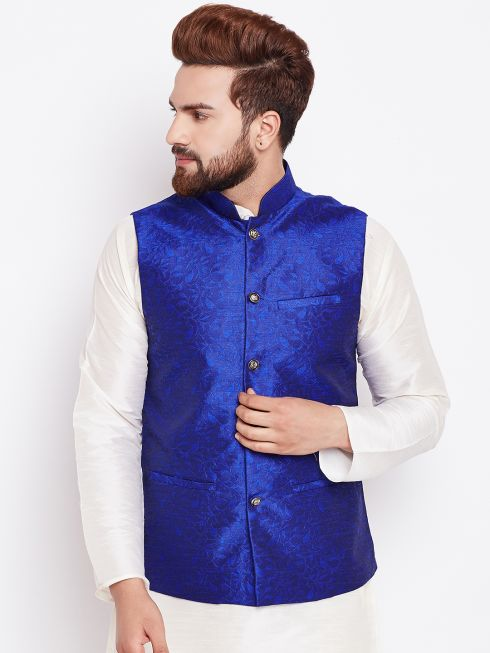 Sojanya (Since 1958) Royal Blue Designer Nehru Jacket