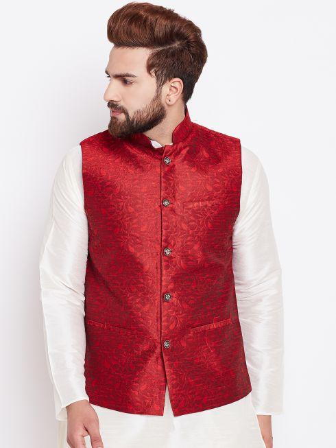 Sojanya (Since 1958) Mahroon Designer Nehru Jacket