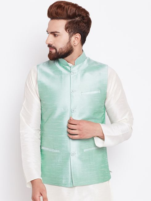 Sojanya (Since 1958) Men's Silk Blend Green Nehrujacket