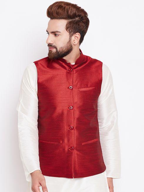 Sojanya (Since 1958) Men's Silk Blend Red Nehrujacket