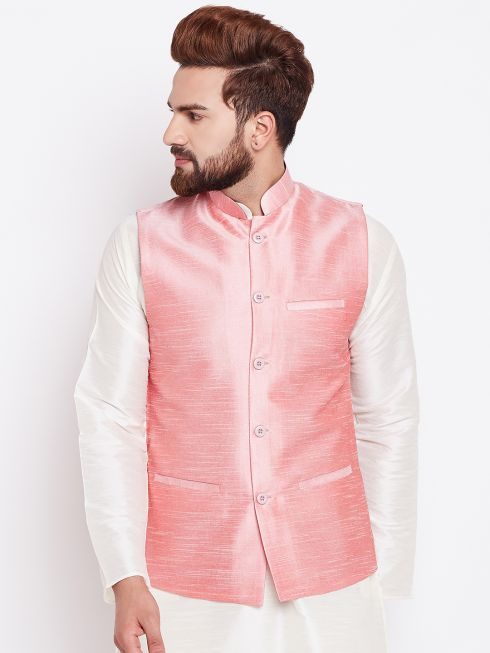 Sojanya (Since 1958) Men's Silk Blend Pink Nehrujacket