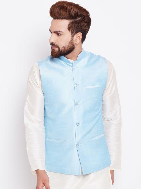 Sojanya (Since 1958) Men's Silk Blend Turquoise Blue Nehrujacket