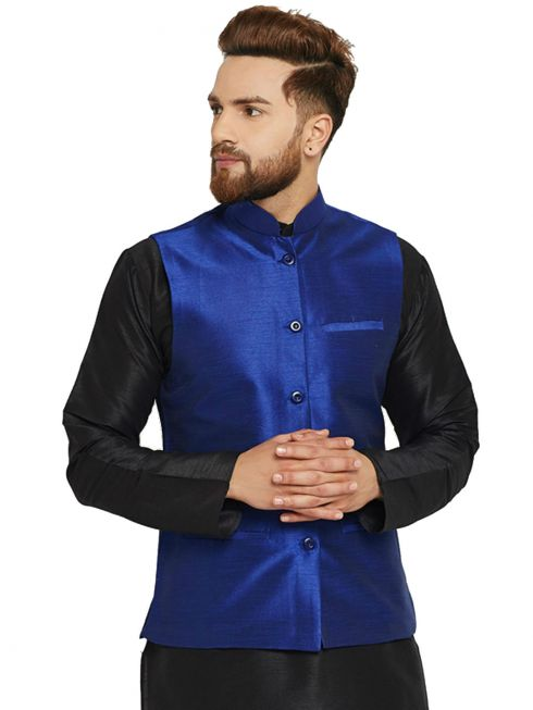 Sojanya (Since 1958) Men's Silk Blend Royal Blue Nehrujacket