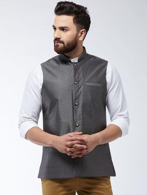 Sojanya (Since 1958) Men's Jacquard Silk Grey Self Design Nehru Jacket