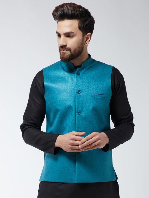 Sojanya (Since 1958) Men's Jute Cotton Peacock Blue ONLY Nehrujacket