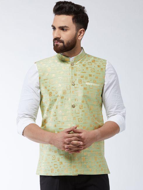 Sojanya (Since 1958) Men's Jacquard Silk Green Designer Nehru Jacket