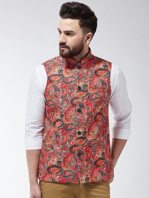 Sojanya (Since 1958) Men's Cotton Blend Red & Multi Printed Nehru Jacket