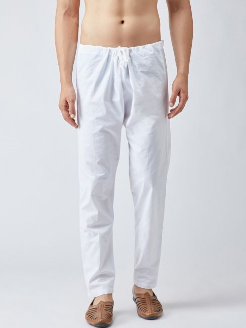 Sojanya (Since 1958), Men's 100 % Pure Cotton White Pyjama