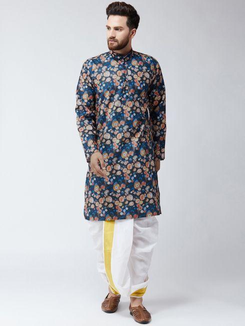 Sojanya (Since 1958), Cotton Multi Print Kurta and White Dhoti Set