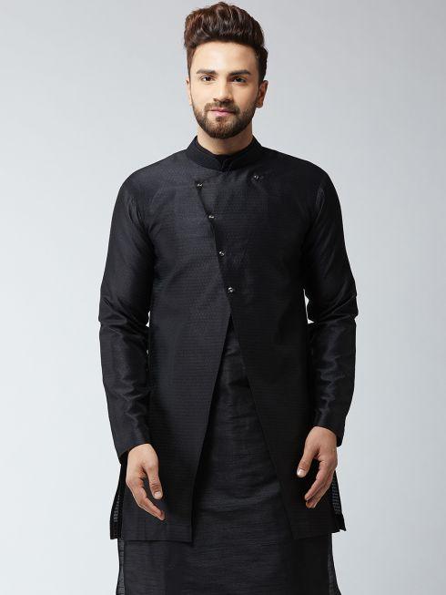 Sojanya (Since 1958), Men's Silk Blend Black ONLY Sherwani Jacket