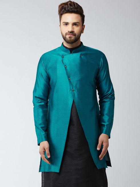 Sojanya (Since 1958), Men's Silk Blend Peacock Blue ONLY Sherwani Jacket