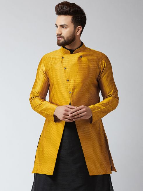 Sojanya (Since 1958), Men's Silk Blend Mustard ONLY Sherwani Jacket