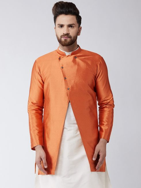 Sojanya (Since 1958), Men's Silk Blend Peach ONLY Sherwani Jacket