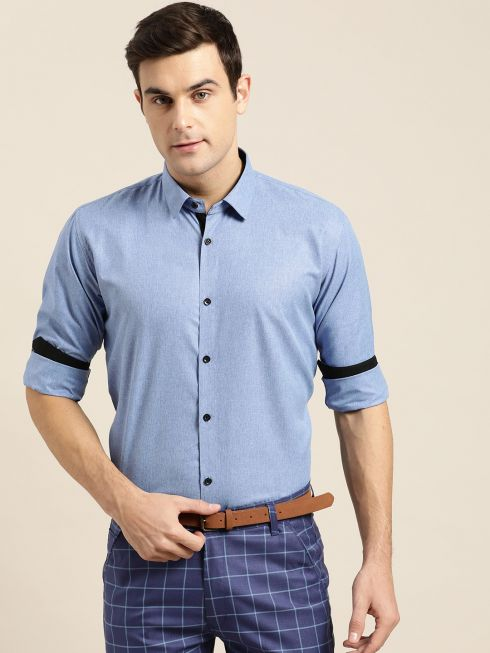 Sojanya (Since 1958), Men's Cotton Blend Blue Formal Shirt