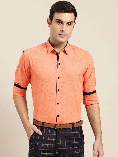 Sojanya (Since 1958), Men's Cotton Blend Orange Formal Shirt