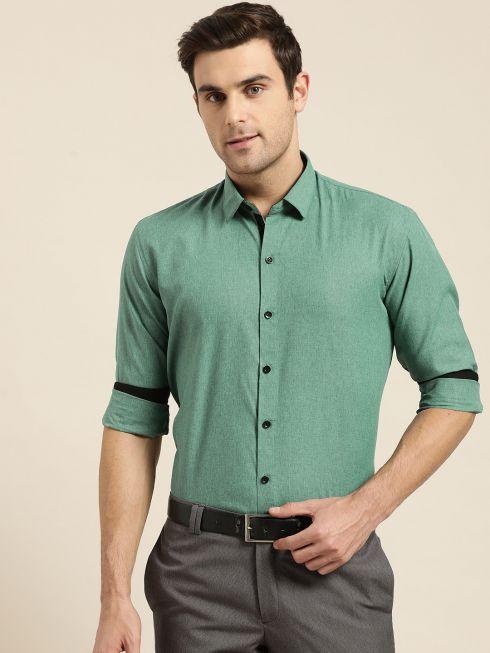 Sojanya (Since 1958), Men's Cotton Blend Green Formal Shirt