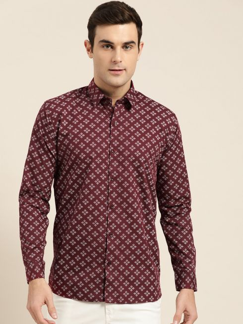 Sojanya (Since 1958), Mens Cotton Maroon & White Printed Casual Shirt