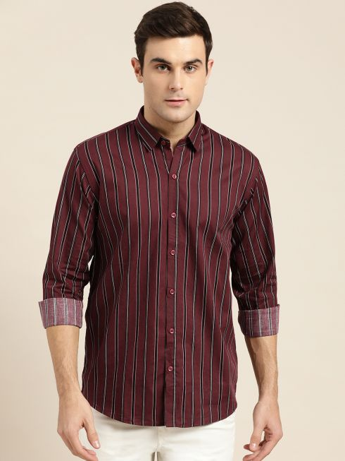 Sojanya (Since 1958), Mens Cotton Maroon & Black Stripe Casual Shirt